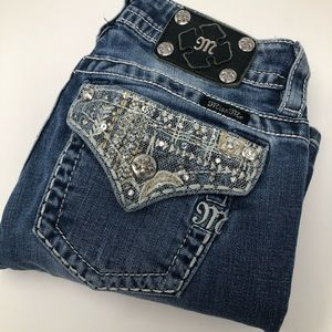 Miss Me Signature Boot Embellished Blue Jeans
